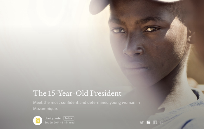 15 yr old president from Charitywater