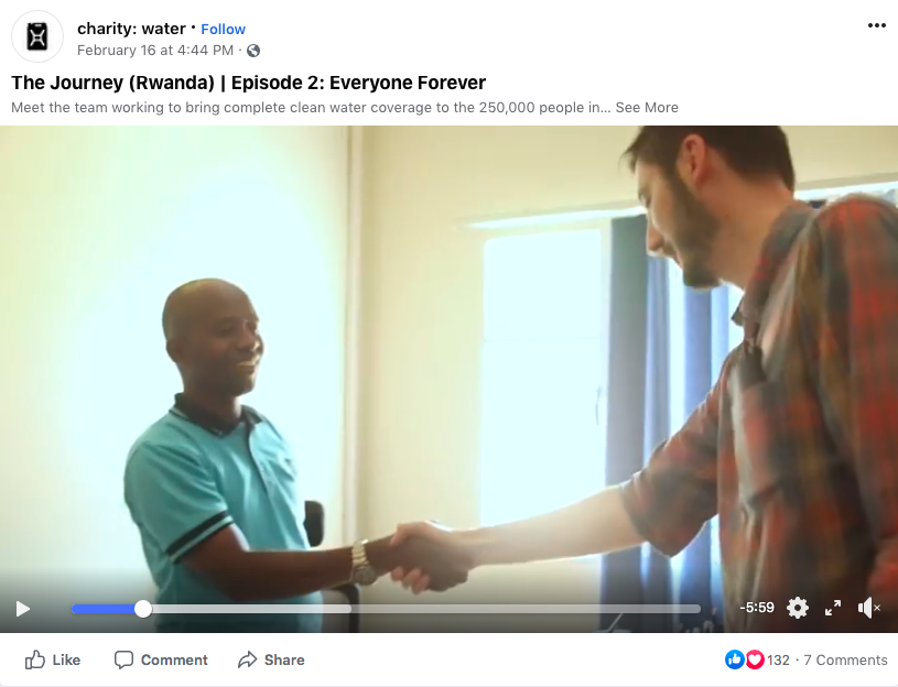 Charity-Water video on Facebook