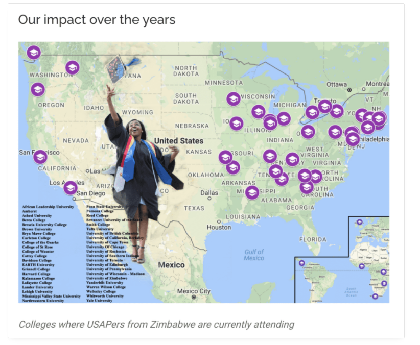 Education Matters Africa Foundation used graphics to help show their impact.