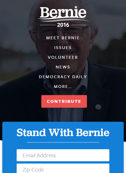bernie sanders mobile web design