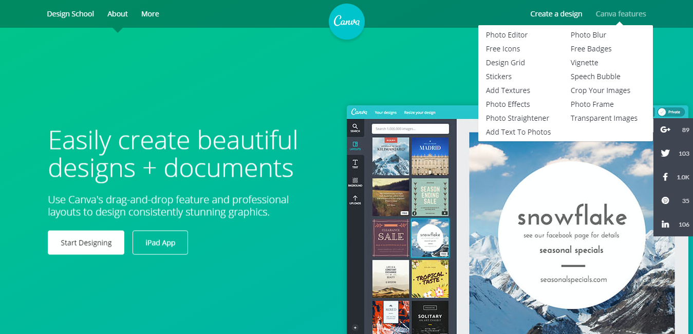 canva application homepage