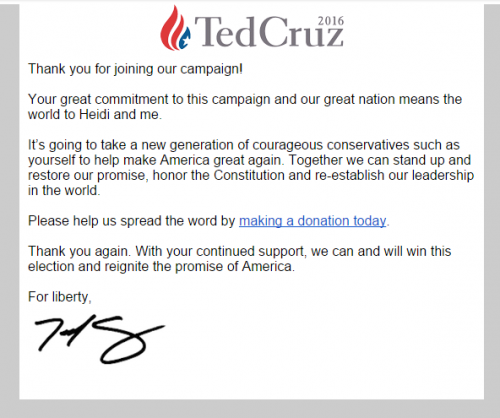nonprofit email marketing - Ted Cruz