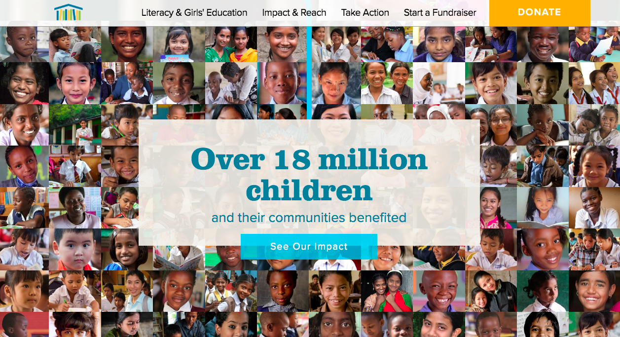 Room to Read - photo collage of hundreds of children served