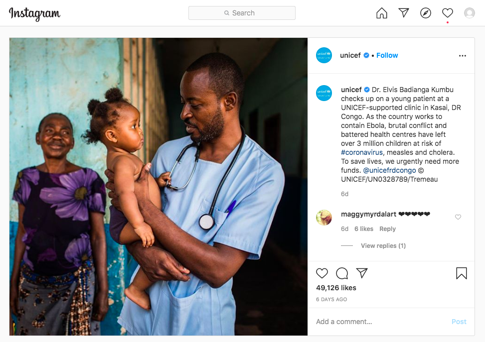 UNICEF highlights individual impact by naming the doctor and the child in their Twitter stories
