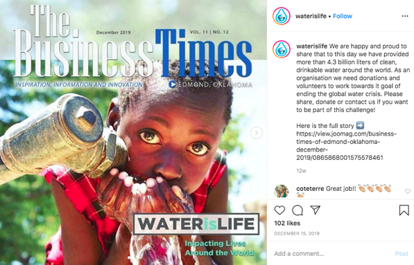 Water is Life featured in The Business Times
