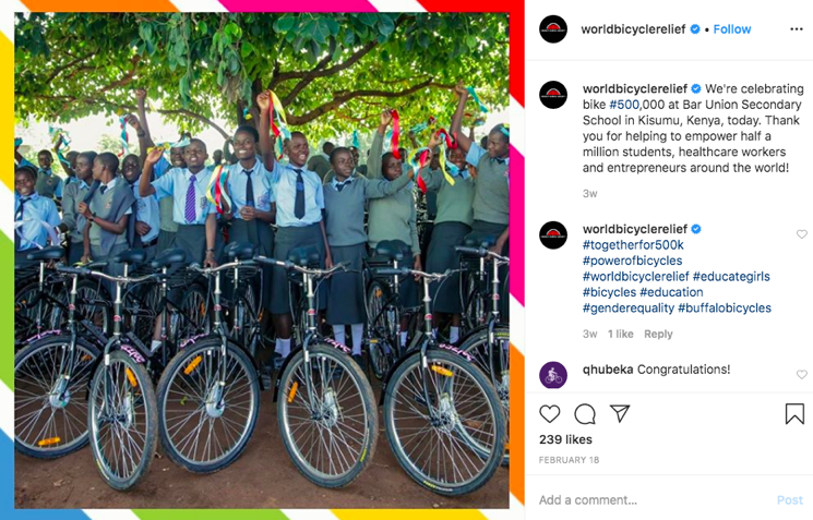 World Bicycle Relief Instagram