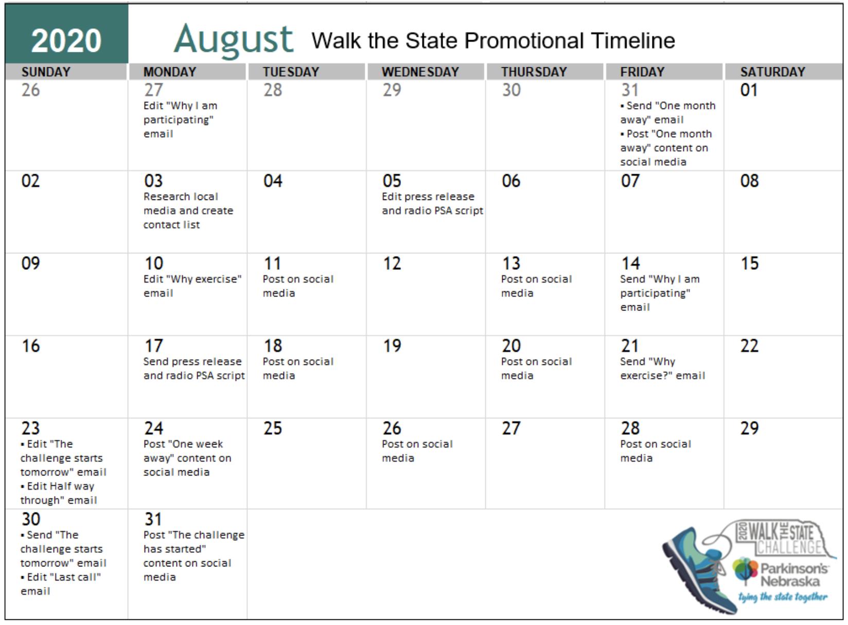 Fundraiser calendar